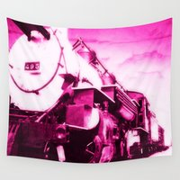train Wall Tapestries featuring Train in Pink by SteeleCat