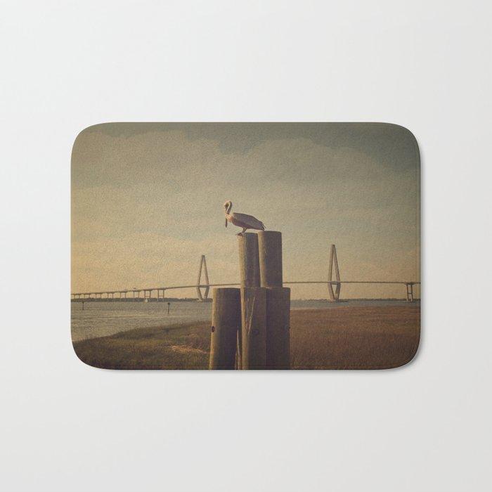 Pelican at the Cooper River Bridge Bath Mat