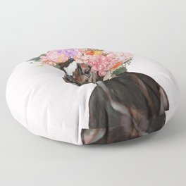 Horse with Flowers Crown in Pink Floor Pillow