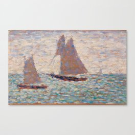 Georges Seurat - Two Sailboats at Grandcamp Canvas Print