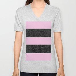 Black Glitter & Light Pink Stripes   Digital Design   Pattern Unisex V-Neck
