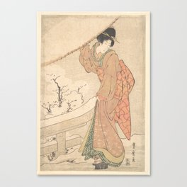 A Young Woman in a Snow Storm Carrying a Heavily Snow-Laden Umbrella , Utagawa Toyohiro (Japanese, 1 Canvas Print