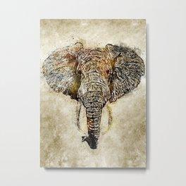 Elephant Vintage Watercolor Art Metal Print
