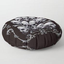 Skulls and Filigree - Black and White Floor Pillow