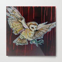 L'il Lard Butt - the Yellow Snowy Owl Metal Print