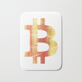 Bitcoin Red Yellow colorful watercolor texture Bath Mat