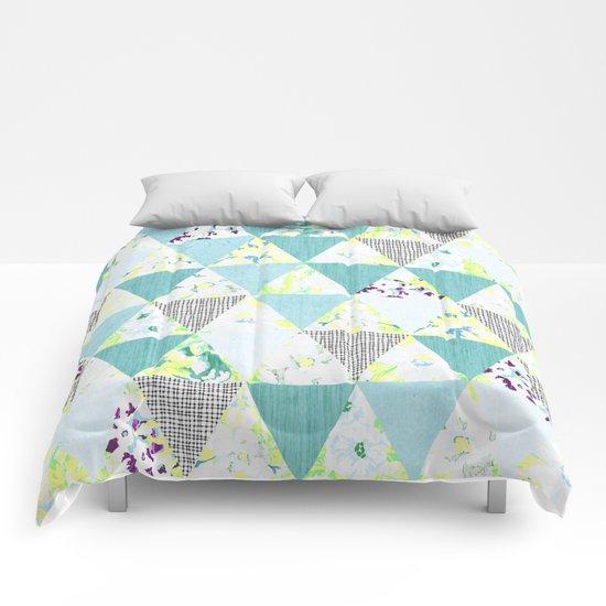 PASTEL NEON GEO FLORALS IN MINT Comforters