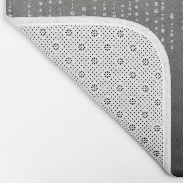 Silver Glamour Faux Glitter on grey Texture Bath Mat