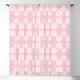 Elegant girly pink white hand painted floral pattern Blackout Curtain