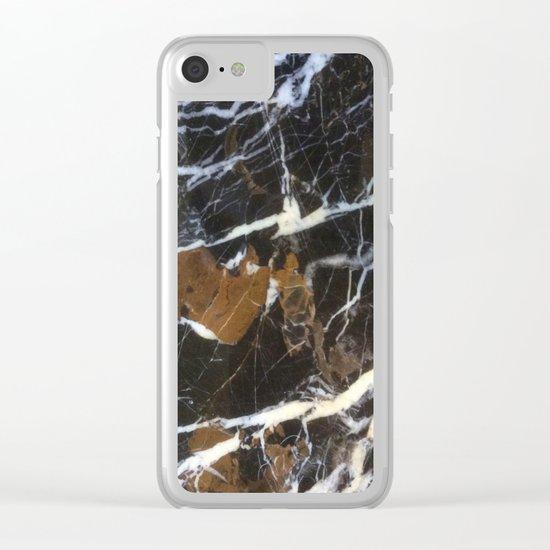 Stylish Polished Black Marble Clear iPhone Case