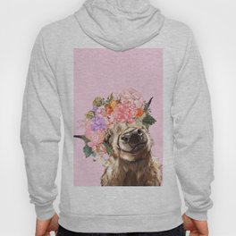 Highland Cow with Flowers Crown in Pink Hoody
