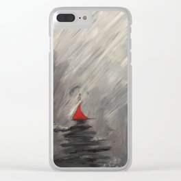 Lady in red - Rainy day Clear iPhone Case