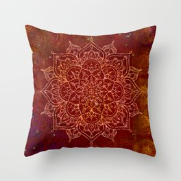 Rust Red Mandala Throw Pillow