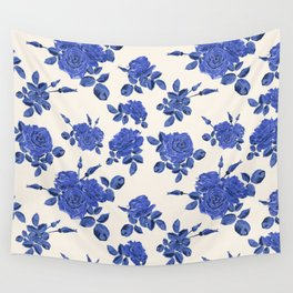Seamless blue roses pattern Wall Tapestry