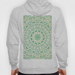 Floral Pattern Gold and Emerald Green Hoody