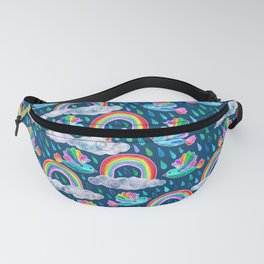Spring Showers and Rainbow Birds on Navy Blue Fanny Pack