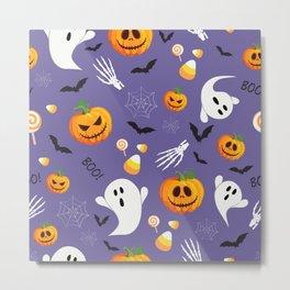 October Halloween halloween ghost cat pumpkin purple Metal Print