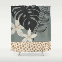 Grey Tropics Shower Curtain