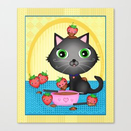 Kitty Cat With Fondue Chocolate Covered Strawberries Canvas Print