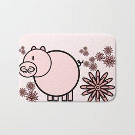 Pink pig in flowers Bath Mat