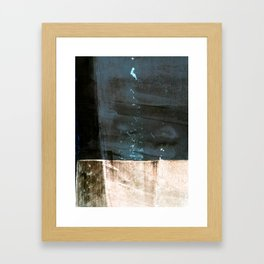 Dark Blue and Brown Colorblock Minimalist Abstract Framed Art Print