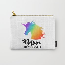 Believe In Yourself - Rainbow Unicorn Carry-All Pouch