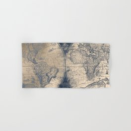 Antique World Map White Gold Navy Blue by Nature Magick Hand & Bath Towel