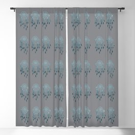 Whimsical Blue Dreamcatcher Pattern Blackout Curtain