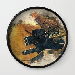 keefs' guitar wall art - hand painted guitar art, unique gift for musicians Wall Clock