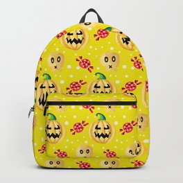 Watercolor Pumpkin and Candy Halloween Pattern Backpack