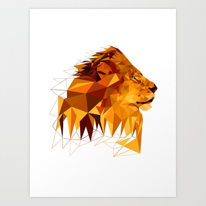 Geometric Lion Wild Animals Big Cat Low Poly Art Brown And