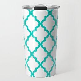 Aqua Moroccan Quatrefoil Pattern Travel Mug