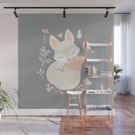 Sleeping Fox - grey pattern design Wall Mural