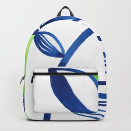 Blue and lime green minimalist leaves Backpack