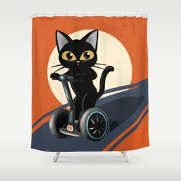 Standing motorcycle Shower Curtain