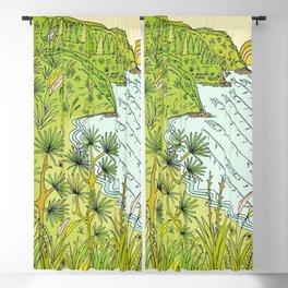 pointbreaks in paradise // lookout in raglan new zealand // retro surf art by surfy birdy Blackout Curtain