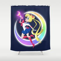 sailor moon Shower Curtains featuring Sailor Moon by The Art of Eileen Marie