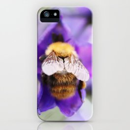 Bumble-bee and larkspur iPhone Case