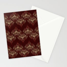 Persian Oriental pattern deep red and gold Stationery Cards