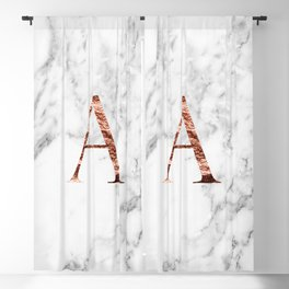 Monogram rose gold marble A Blackout Curtain