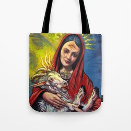 Portrait - Occult Madoona with Baphomet Goat Child  Tote Bag