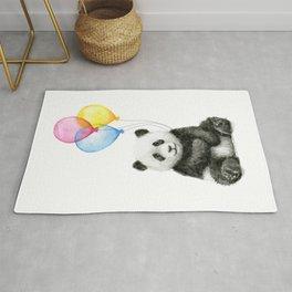 Panda Baby with Balloons Rug