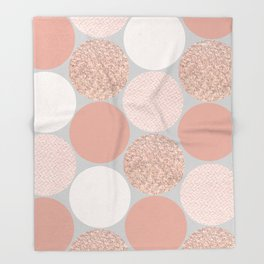 Rose Gold Dots Throw Blanket