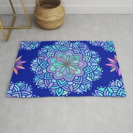 Heart mandala Pattern on Dark Blue Background Rug