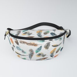 Flying Feathers in bright Watercolor Fanny Pack