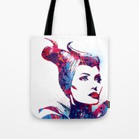 maleficent Tote Bags featuring Maleficent by lauramaahs