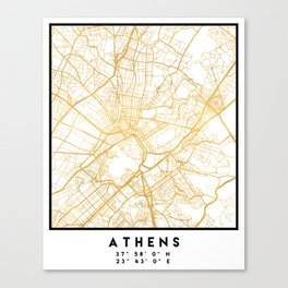 ATHENS GREECE CITY STREET MAP ART Canvas Print