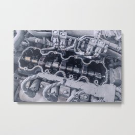 Car Engine Inside View Close up, Top View of Engine Inside. Metal Print