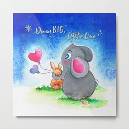 Ellie and Bunny - Dream Big Metal Print