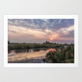 Sun Rising on the Okavango Delta Art Print